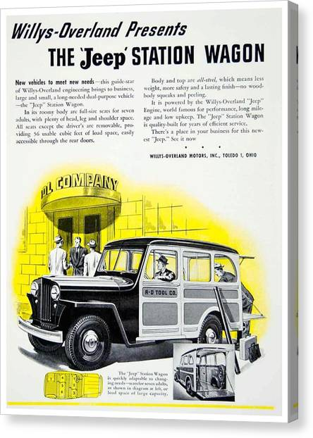 1946 - Willys Overland Jeep Station Wagon Advertisement - Color Canvas Print