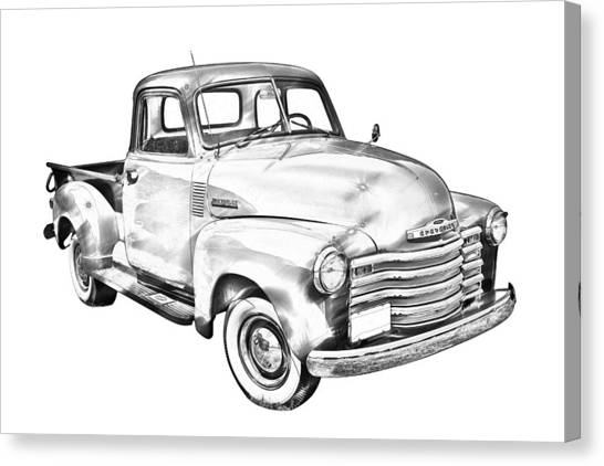 Classic Car Drawings Canvas Print - 1947 Chevrolet Thriftmaster Pickup Illustration by Keith Webber Jr