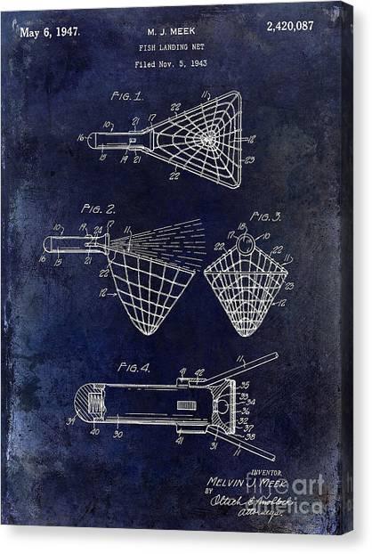 Fishing Poles Canvas Print - 1947 Fishing Net Patent Drawing Blue by Jon Neidert