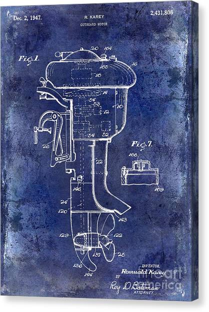 Fishing Poles Canvas Print - 1947 Outboard Motor Patent Drawing Blue by Jon Neidert