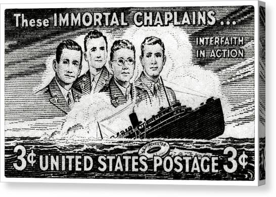 1948 Immortal Chaplains Stamp Canvas Print