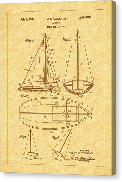 1948 Sailboat Patent Art Canvas Print by Barry Jones