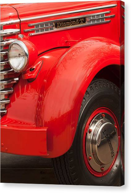 Front End Canvas Print - 1949 Diamond T Truck Front End by Jill Reger