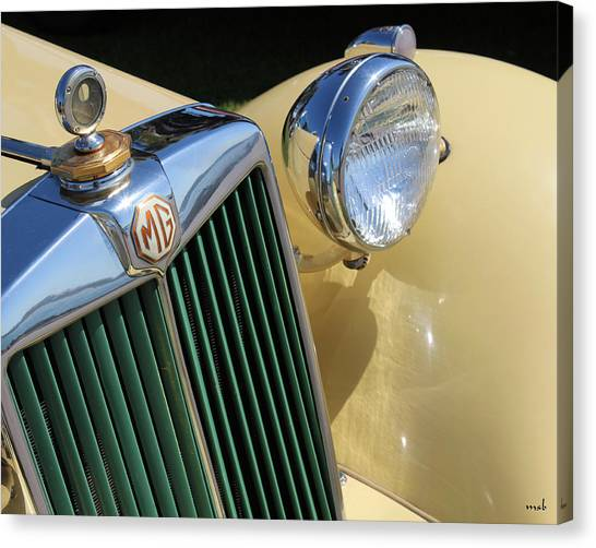 1950 Yellow Mg Grille Canvas Print by Mark Steven Burhart