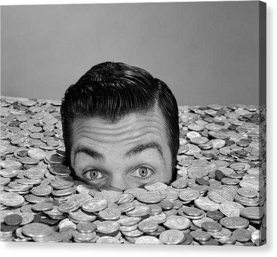 Drown Canvas Print - 1950s 1960s Funny Man Buried Up To Eyes by Vintage Images