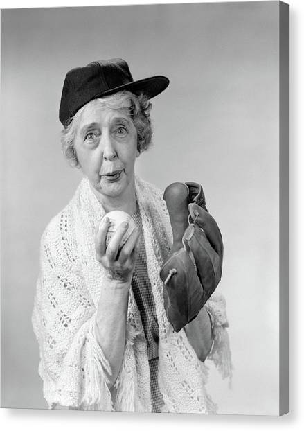 Pitching Canvas Print - 1950s 1960s Granny Wearing Baseball Hat by Vintage Images