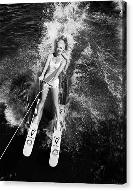 Water Skis Canvas Print - 1950s 1960s High Angle View Smiling by Vintage Images