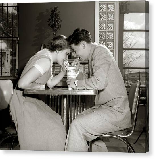 Jukebox Canvas Print - 1950s 1960s Laughing Teenage Couple Boy by Vintage Images