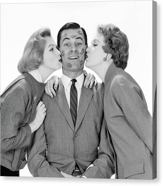 Bachelorette Canvas Print - 1950s 1960s Smiling Single Man Looking by Vintage Images