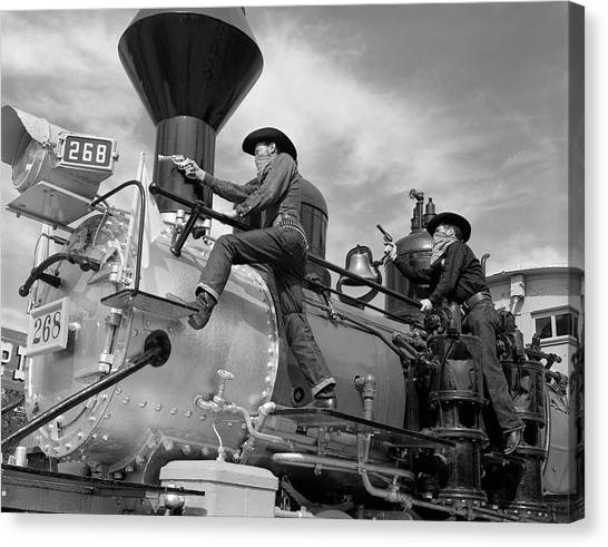 Bullet Trains Canvas Print - 1950s 1960s Two Cowboy Bandits Western by Vintage Images