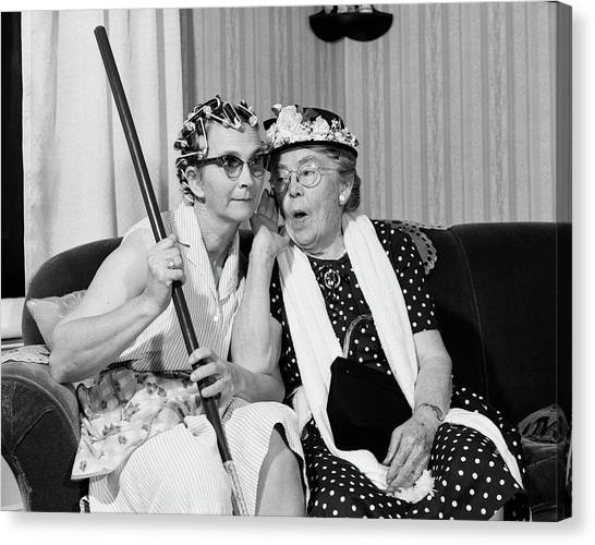 Whisper canvas print 1950s 1960s two elderly women by vintage images