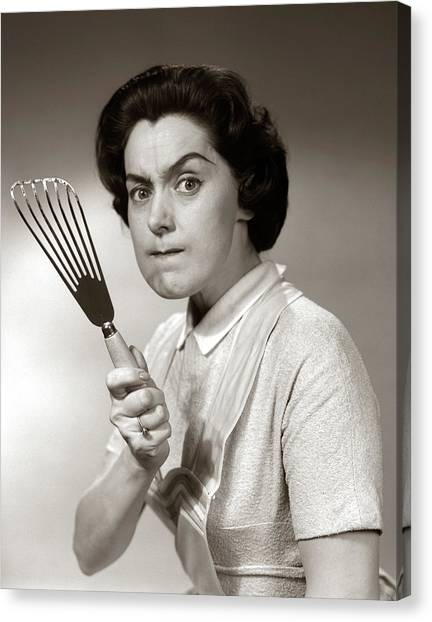 Life-threatening Canvas Print - 1950s-60s Portrait Of Angry Housewife by Vintage Images