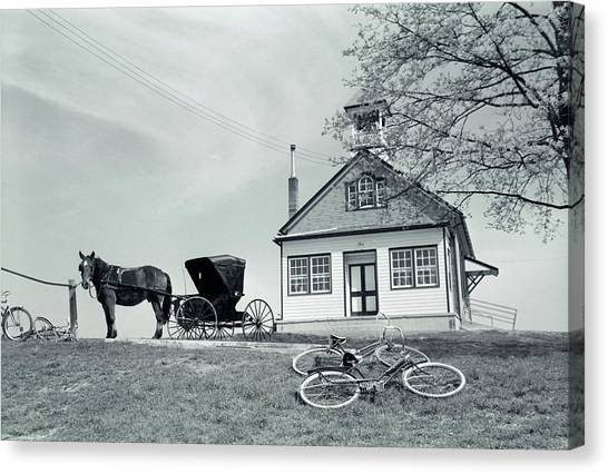 Schoolrooms Canvas Print - 1950s Amish One-room Schoolhouse At Top by Vintage Images