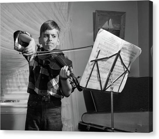 Flannel Canvas Print - 1950s Boy In Living Room Practicing by Vintage Images