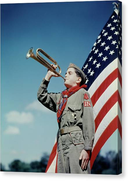 Boy Scouts Canvas Print - 1950s Boy Scout Blowing Bugle In Front by Vintage Images
