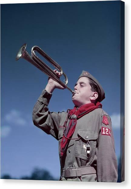 Boy Scouts Canvas Print - 1950s Boy Scout Blowing Bugle by Vintage Images