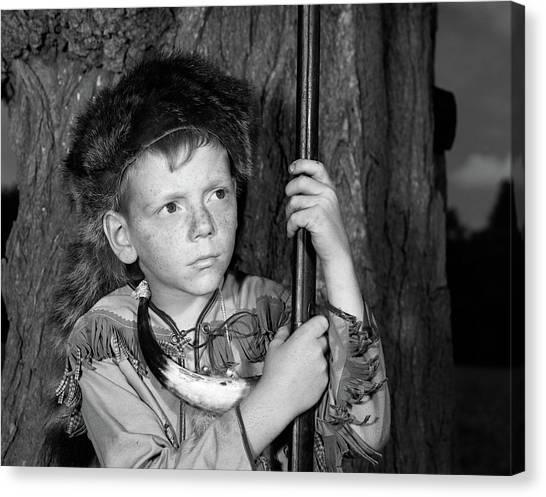 85ddf1d27d0 Coonskin Cap Canvas Print - 1950s Boy Wearing Raccoon Skin Hat by Vintage  Images