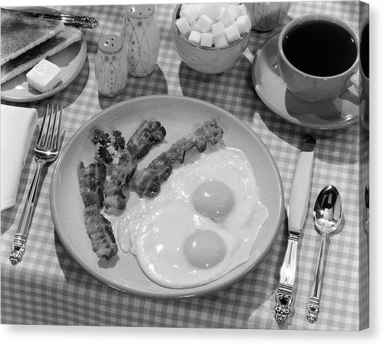 Eggs And Bacon Canvas Print - 1950s Breakfast Plate Of Bacon & Fried by Vintage Images