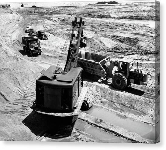 Bulldozers Canvas Print - 1950s Construction Site Excavation by Vintage Images