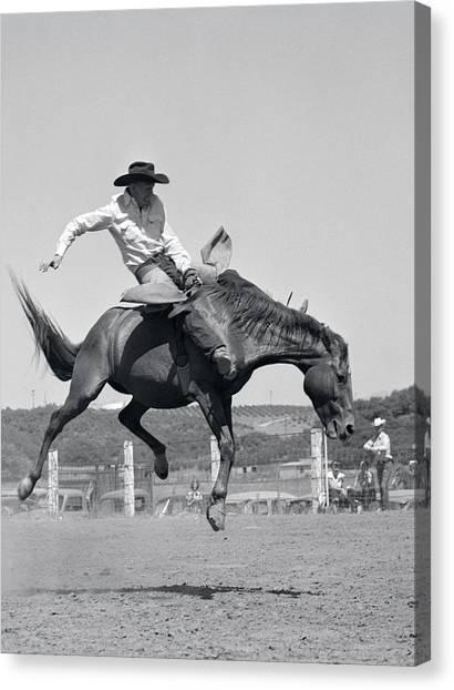 Bareback Canvas Print - 1950s Cowboy Riding A Horse Bareback by Animal Images