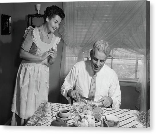Brunch Canvas Print - 1950s Husband Eating Dinner As Wife by Vintage Images