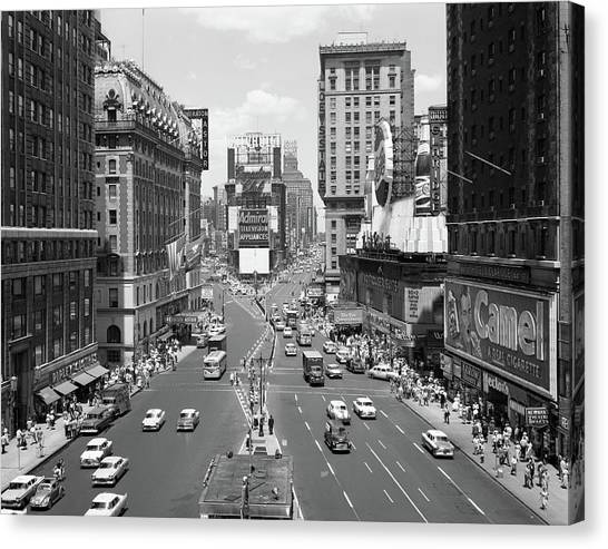 Pepsi Canvas Print - 1950s Looking North At Times Square by Vintage Images