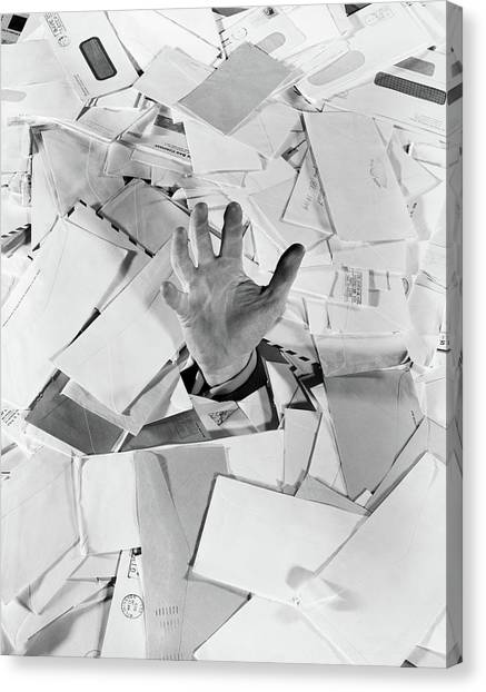 Drown Canvas Print - 1950s Male Hand Sticking Out Of Pile by Vintage Images