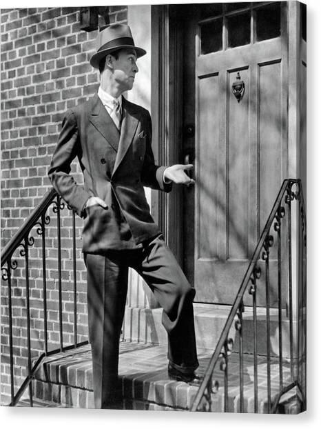 Hard Hat Canvas Print - 1950s Man Suit Tie Hat Salesman by Vintage Images