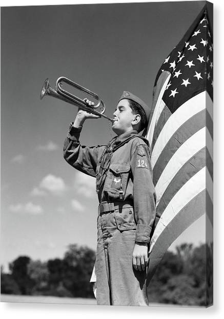 Boy Scouts Canvas Print - 1950s Profile Of Boy Scout In Uniform by Vintage Images