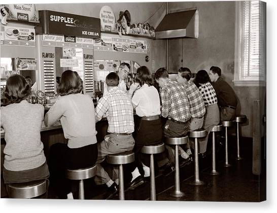 Flannel Canvas Print - 1950s Rear View Of Group Of Teenage by Vintage Images
