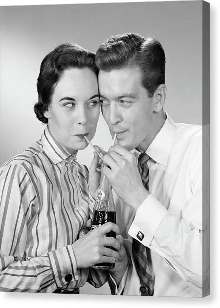 Pepsi Canvas Print - 1950s Romantic Couple Head To Head by Vintage Images