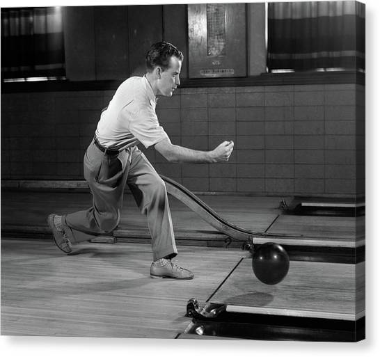 Bowling Shoes Canvas Print - 1950s Side View Man Bowling Releasing by Vintage Images