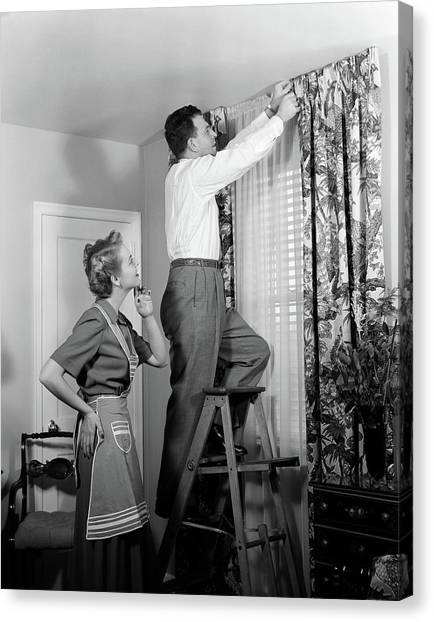 Honeydews Canvas Print - 1950s Skeptical Wife In Apron Fingers by Vintage Images