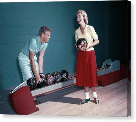 Bowling Shoes Canvas Print - 1950s Smiling Couple Husband Wife by Vintage Images
