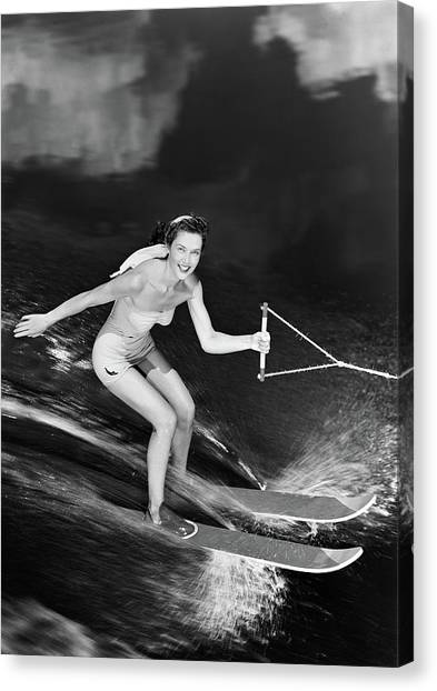 Water Skis Canvas Print - 1950s Smiling Woman In A White Two by Vintage Images