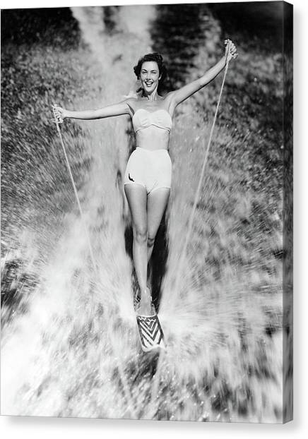 Water Skis Canvas Print - 1950s Smiling Woman In White Two Piece by Vintage Images