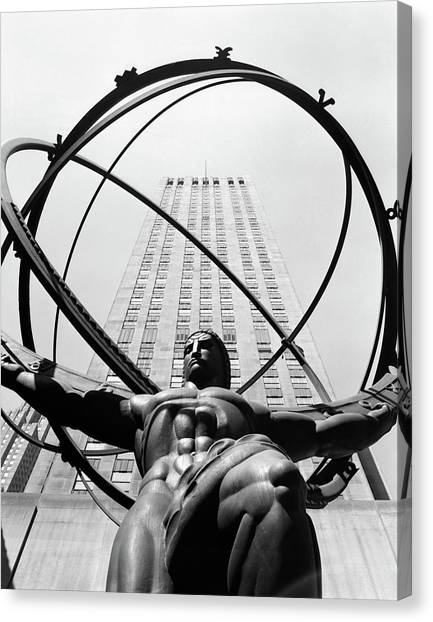 Celestial Sphere Canvas Print - 1950s Statue Of Atlas At Rockefeller by Vintage Images