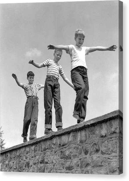 Hard times canvas print 1950s three laughing boys walking by vintage images