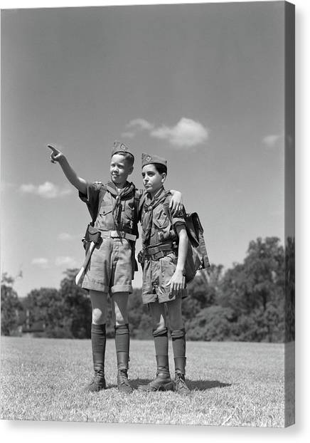 Boy Scouts Canvas Print - 1950s Two Boy Scouts One Pointing by Vintage Images