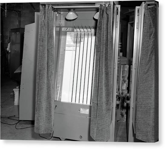 Copy Machine Canvas Print - 1950s Voting Booth Machine With Curtain by Vintage Images