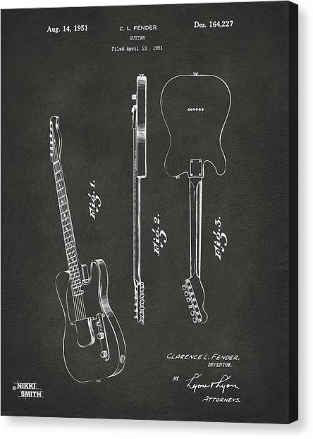 Fender Guitars Canvas Print - 1951 Fender Electric Guitar Patent Artwork - Gray by Nikki Marie Smith