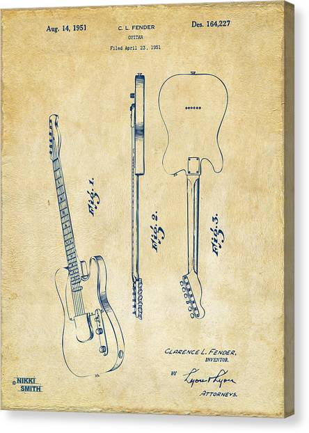 Electric Guitars Canvas Print - 1951 Fender Electric Guitar Patent Artwork - Vintage by Nikki Marie Smith