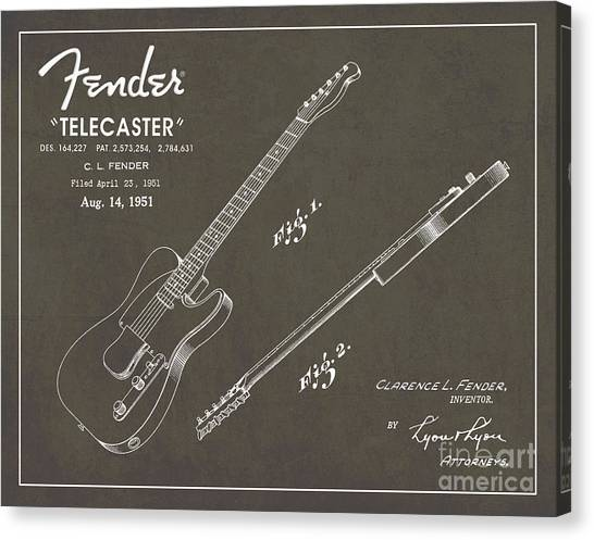 Vintage Canvas Print - 1951 Fender Telecaster Guitar Patent Art In White Chalk On Gray  by Nishanth Gopinathan