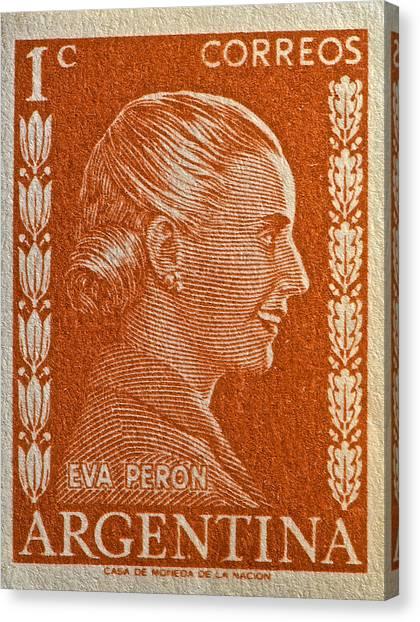 1952 Eva Peron Argentina Stamp Canvas Print