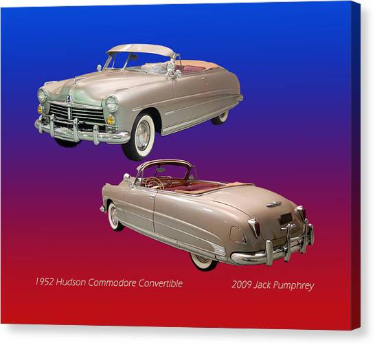 Stock Cars Canvas Print - 1952 Hudson Commodore Convertible by Jack Pumphrey