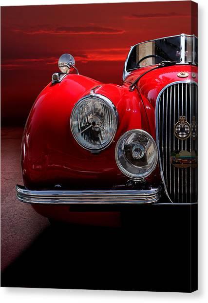 1952 Jaguar Xk120 Sport Car Red Canvas Print by Radoslav Nedelchev