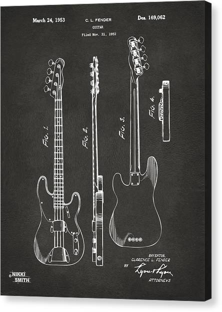 Guitars Canvas Print - 1953 Fender Bass Guitar Patent Artwork - Gray by Nikki Marie Smith