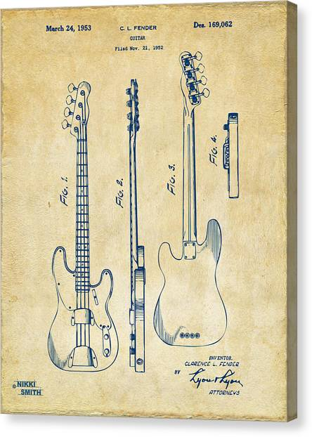 Canvas Print featuring the digital art 1953 Fender Bass Guitar Patent Artwork - Vintage by Nikki Marie Smith