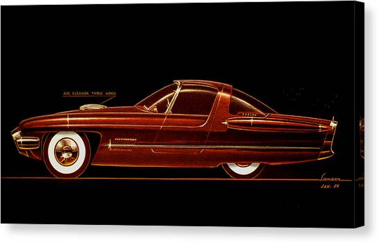 1954 Ford Cougar  Experimental  Car Concept Styling Design Concept Sketch Canvas Print by John Samsen