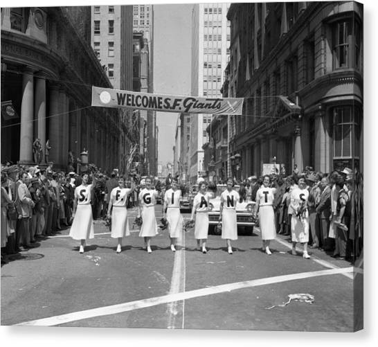 San Francisco Giants Canvas Print - 1954 World Series Champions Giants Parade Retro Cheerleaders by Retro Images Archive